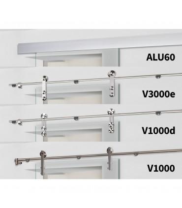 Glasschiebetür QSS066-F2 mit verschiedenen Schiebesystemen