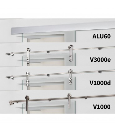 Glasschiebetür QSS066-S mit verschiedenen Schiebesystemen